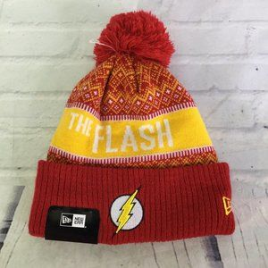 New Era DC The Flash Logo Knit Pom Beanie Hat Cap